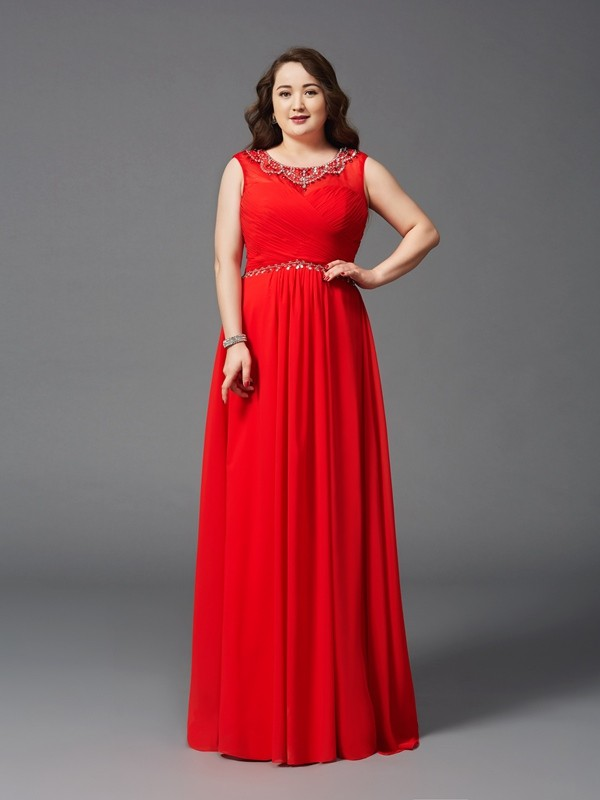 Chicregina A-Line/Princess Scoop Floor-Length Chiffon Plus Size Dress with Beading
