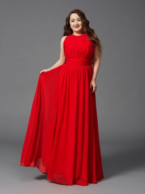 Chicregina A-Line/Princess Jewel Floor-Length Chiffon Plus Size Dress with Beading Ruched