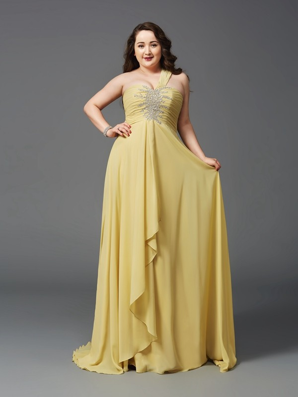 Chicregina A-Line/Princess One-Shoulder Sweep/Brush Train Chiffon Plus Size Dress with Sash Rhinestone