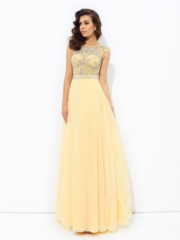 Chicregina A-Line/Princess Bateau Chiffon Floor-Length Dress with Embroidery Beading
