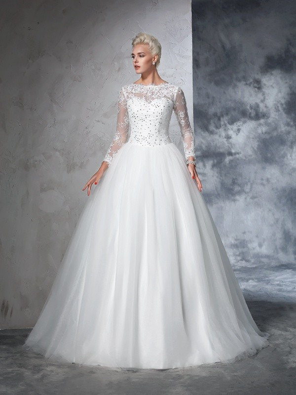 Chicregina Ball Gown Long Sleeves Bateau Net Lace Sweep/Brush Train Wedding Dress with Pleats