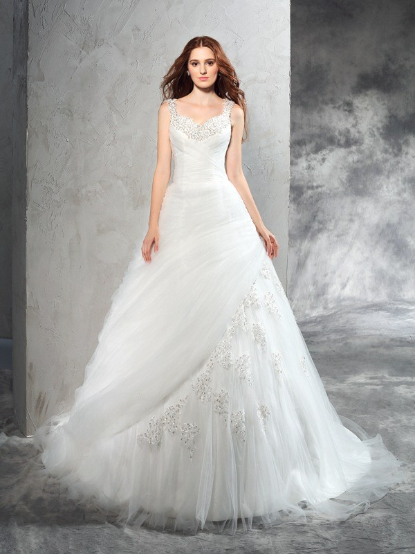 Chicregina Ball Gown Straps Court Train Net Wedding Dress with Sash Applique