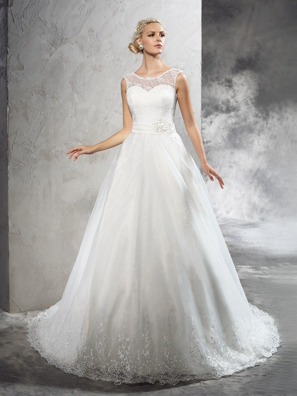 Chicregina Ball Gown Sheer Neck  Court Train Net Wedding Dress with Sequin Sash/Ribbon/Belt