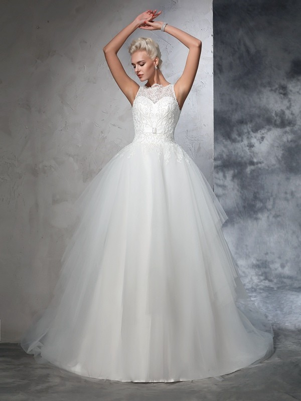 Chicregina Ball Gown Bateau Net Chapel Train Wedding Dress with Sash Applique