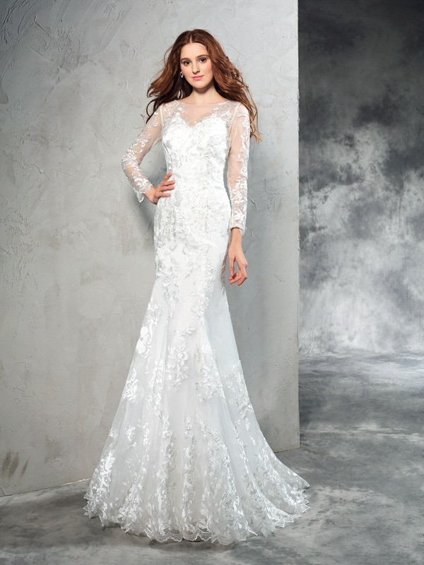 Chicregina Sheath/Column Sheer Neck Long Sleeves Lace Sweep/Brush Train Net Wedding Dress with Ruffles