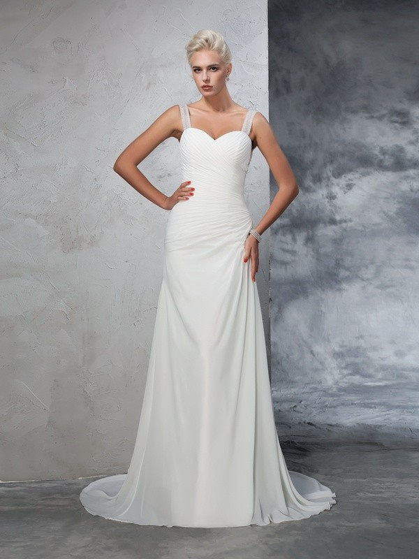 Chicregina Trumpet/Mermaid Straps Chiffon Court Train Wedding Dress with Ruffles Ruched