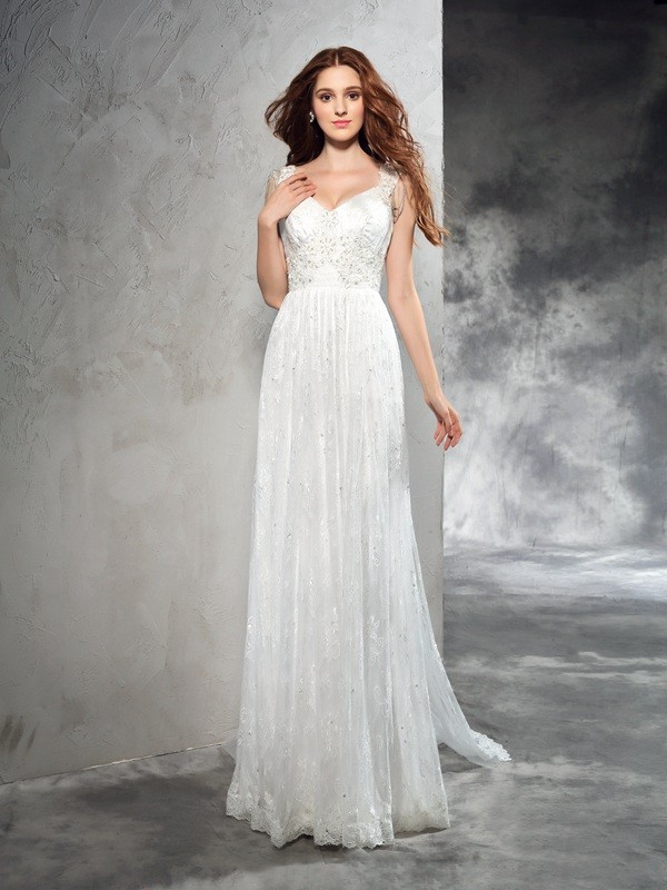 Chicregina A-Line/Princess Straps Court Train Lace Wedding Dress with Beading Lace