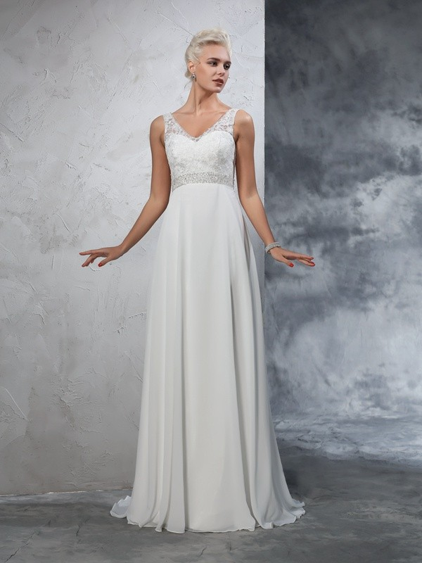 Chicregina A-Line/Princess V-neck Chiffon Court Train Wedding Dress with Beading