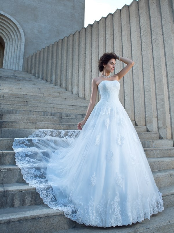 Chicregina Ball Gown Strapless Satin Chapel Train Wedding Dress with Beading Applique