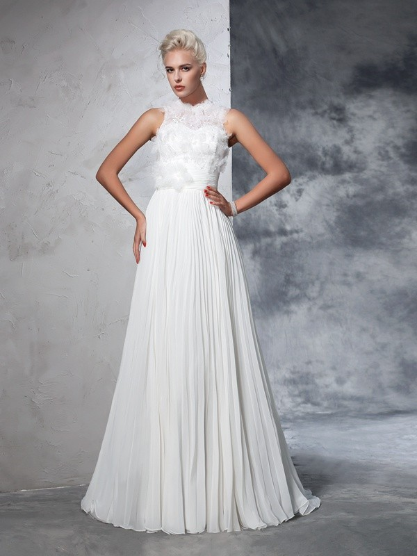 Chicregina A-Line/Princess High Neck Chiffon Court Train Wedding Dress with Beading Pleats