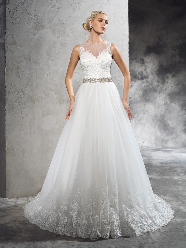 Chicregina A-Line/Princess Sheer Neck Court Train Net Wedding Dress with Ruffles Beading