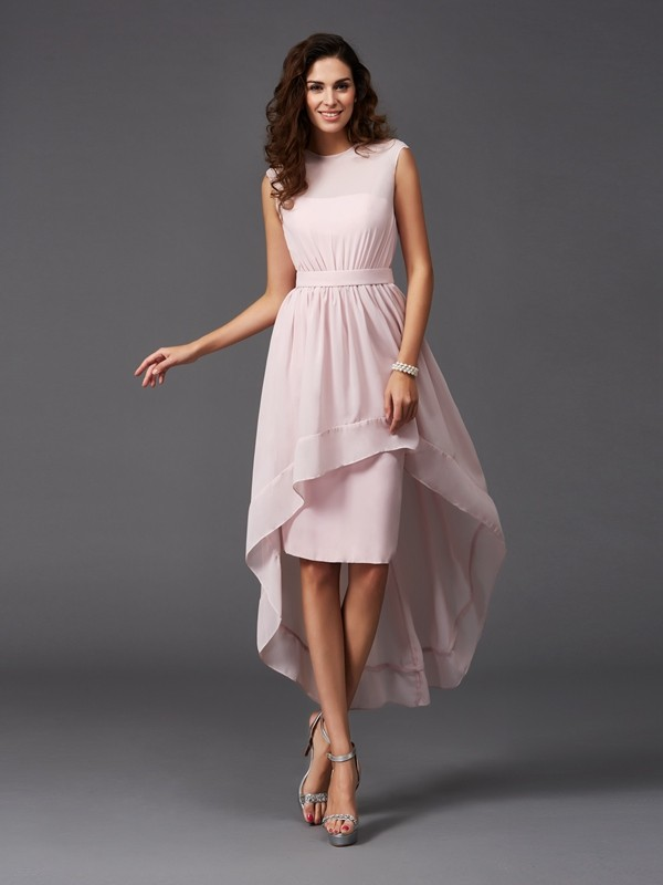 Chicregina A-Line/Princess Scoop Asymmetrical Chiffon Bridesmaid Dress with Applique Sash/Ribbon/Belt