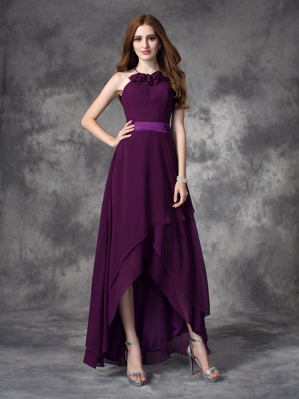 Chicregina A-line/Princess Halter Asymmetrical Chiffon Bridesmaid Dress with Lace Ruffles