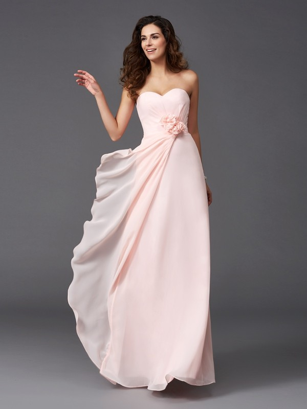 Chicregina A-Line/Princess Sweetheart Floor-Length Chiffon Bridesmaid Dress with Sequin Hand-Made Flower