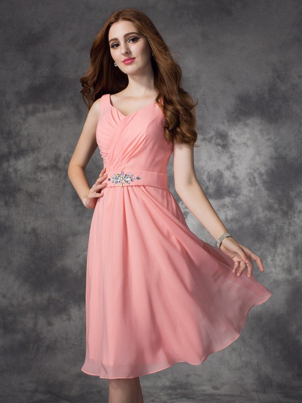 Chicregina A-line/Princess Straps Knee-Length Chiffon Bridesmaid Dress with Sash Rhinestone