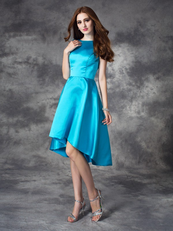 Chicregina A-line/Princess Bateau Asymmetrical Satin Bridesmaid Dress with Beading