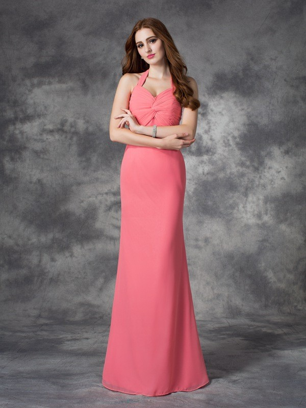 Chicregina Sheath/Column Halter Floor-Length Chiffon Bridesmaid Dress with Applique Ruched