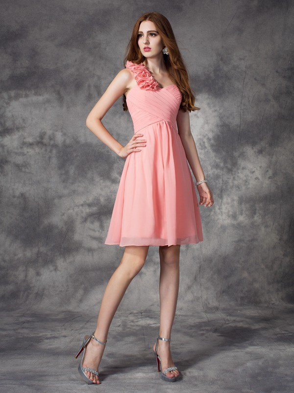 Chicregina A-Line/Princess One-Shoulder Mini Chiffon Bridesmaid Dress with Ruched Hand-Made Flower