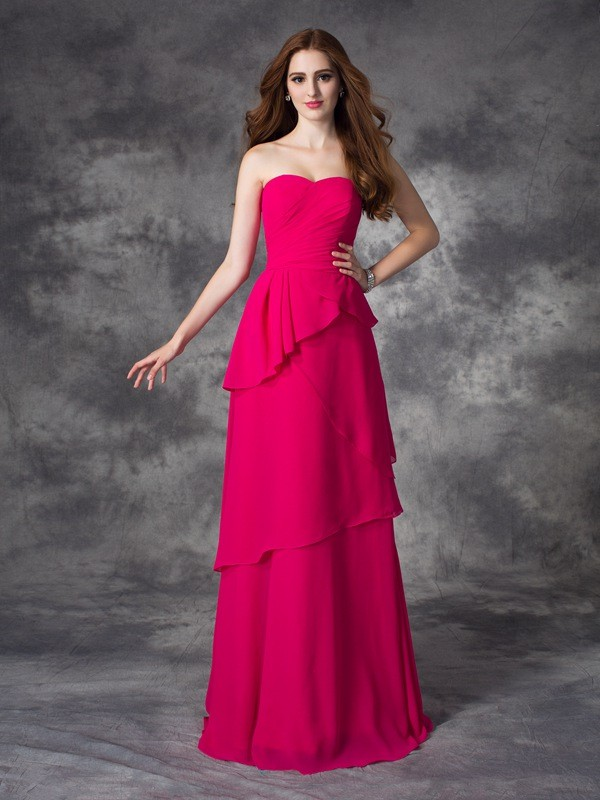 Chicregina A-line/Princess Sweetheart Floor-Length Chiffon Bridesmaid Dress with Embroidery Layers