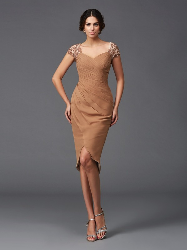 Chicregina Sheath/Column Applique Short Sleeves Sweetheart Asymmetrical Chiffon Cocktail Dress with Ruched