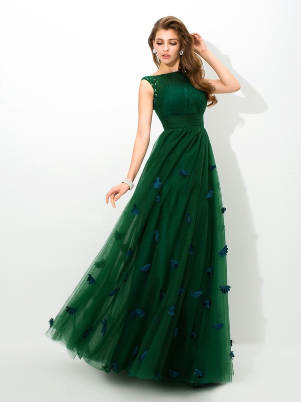 Chicregina A-Line/Princess Sheer Neck Floor-Length Net Dress with Beading