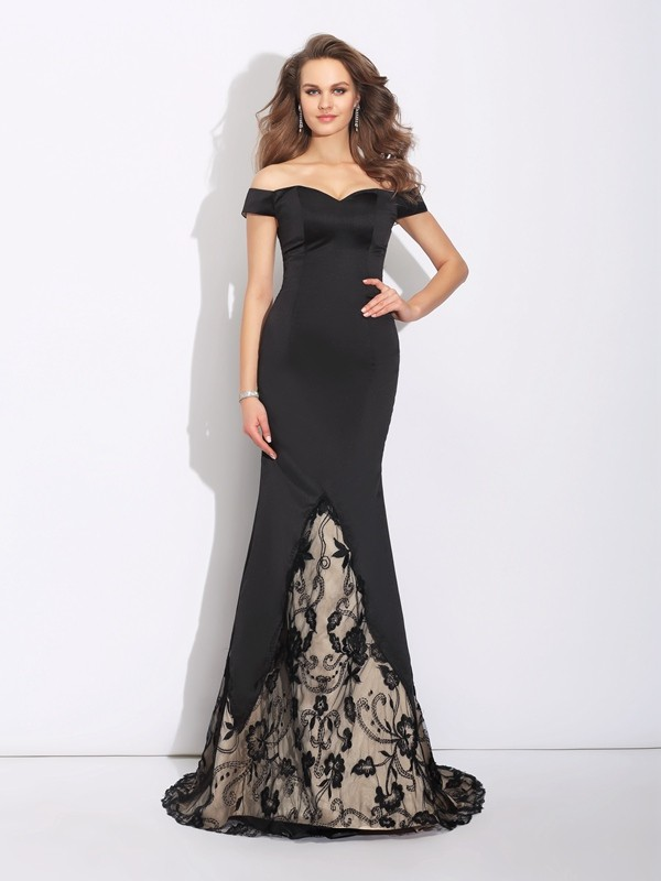 Chicregina Trumpet/Mermaid Off-the-Shoulder Lace Sweep/Brush Train Satin Dress with Beading