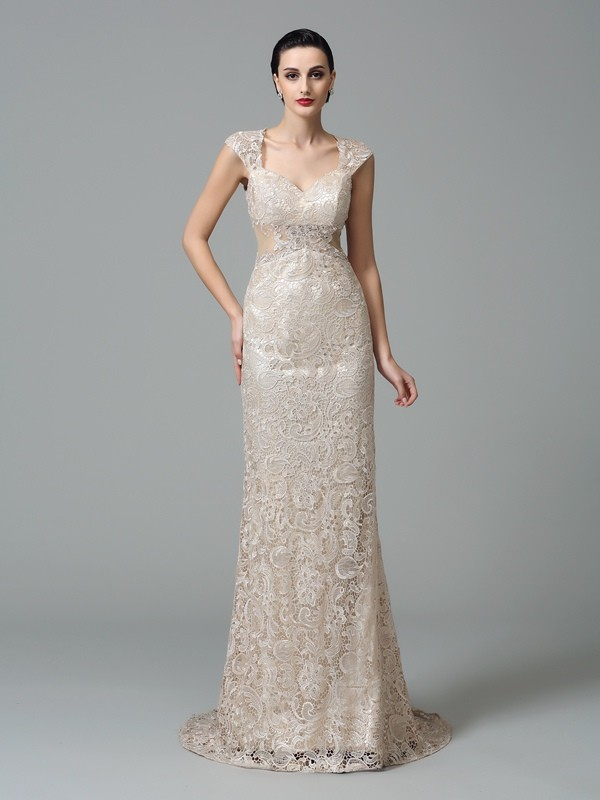 Chicregina Sheath/Column Straps Sweep/Brush Train Lace Dress with Beading