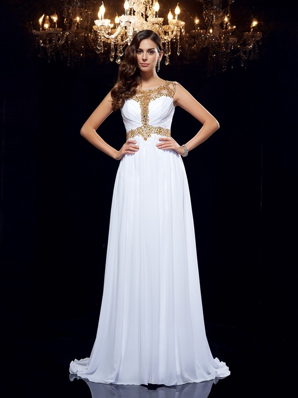 White Chicregina A-Line/Princess Scoop Chiffon Sweep/Brush Train Dress with Beading