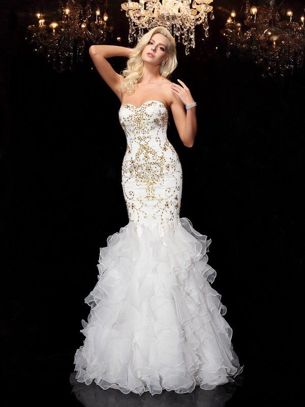 Chicregina Trumpet/Mermaid Sweetheart Floor-Length Organza Dress with Embroidery Beading