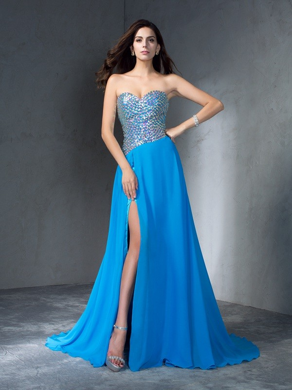 Chicregina A-Line/Princess Sweetheart Sequin Sweep/Brush Train Chiffon Dress with Ruched