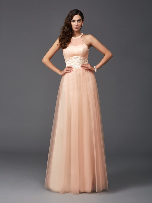 Chicregina A-Line/Princess Halter Net Floor-Length Dress with Beading