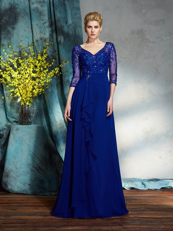 Chicregina A-Line/Princess 3/4 Sleeves V-neck Chiffon Floor-Length Mother of the Bride Dress with Sequin