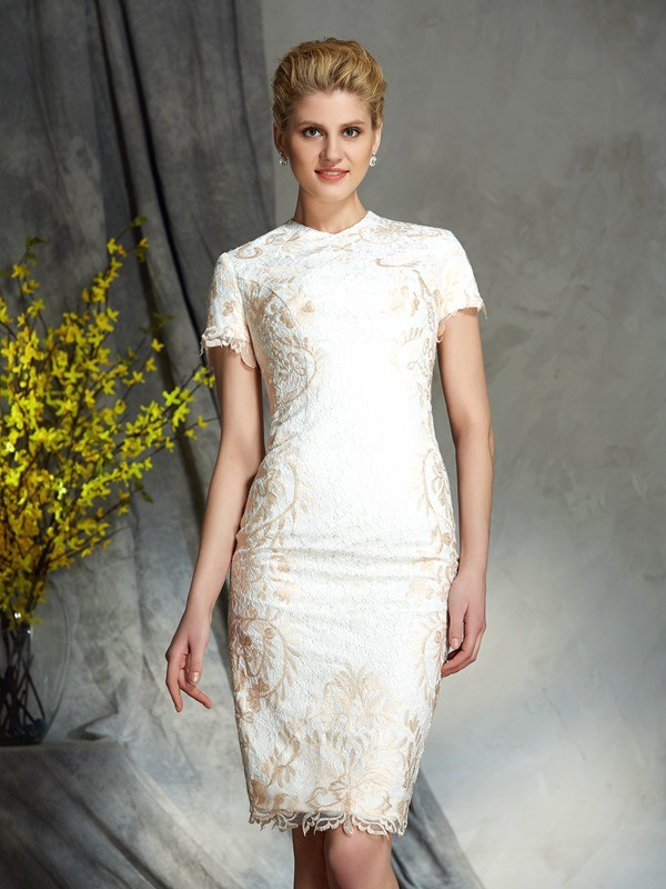 Chicregina Sheath/Column Jewel Short Sleeves Lace Mini Mother of the Bride Dress with Beading