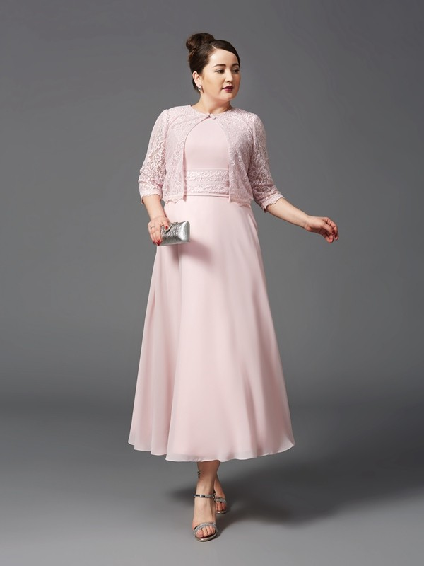 Chicregina A-Line/Princess Jewel Ankle-Length Chiffon Plus Size Mother of the Bride Dress with Lace