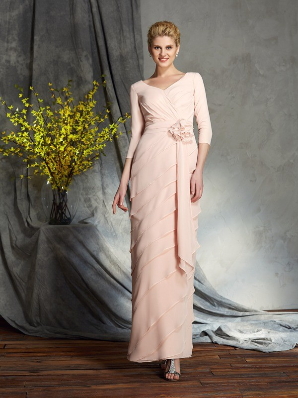 Chicregina Sheath/Column 3/4 Sleeves V-neck Chiffon Floor-Length Mother of the Bride Dress with Beading Hand-Made Flower