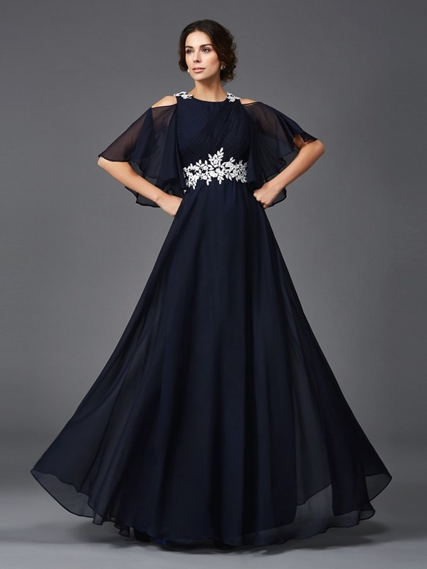 Chicregina A-Line/Princess Straps 1/2 Sleeves Floor-Length Chiffon Mother of the Bride Dress with Lace Applique