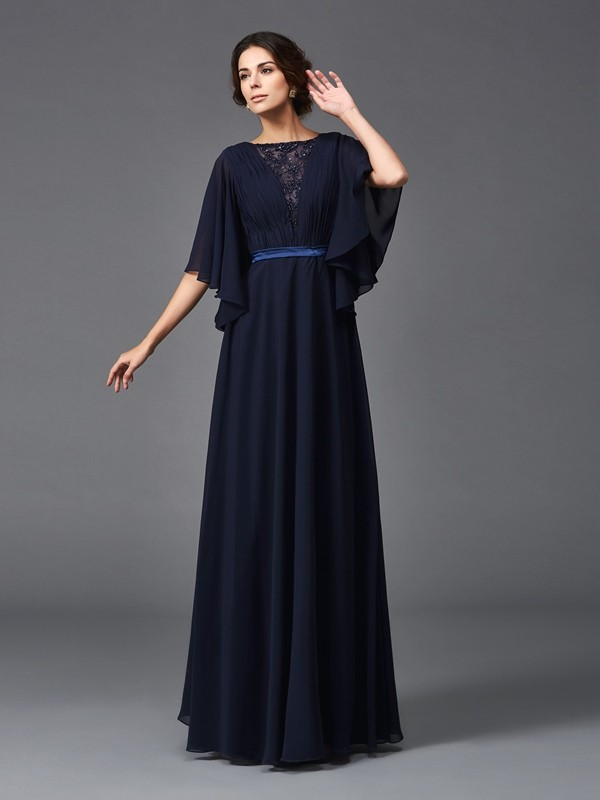 Chicregina A-Line/Princess Scoop 1/2 Sleeves Floor-Length Chiffon Mother of the Bride Dress with Beading