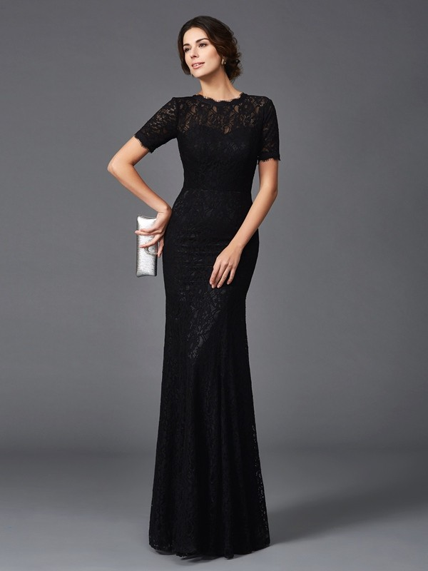 Chicregina Sheath/Column Lace Short Sleeves Jewel Floor-Length Elastic Woven Satin Mother of the Bride Dress with Pleats