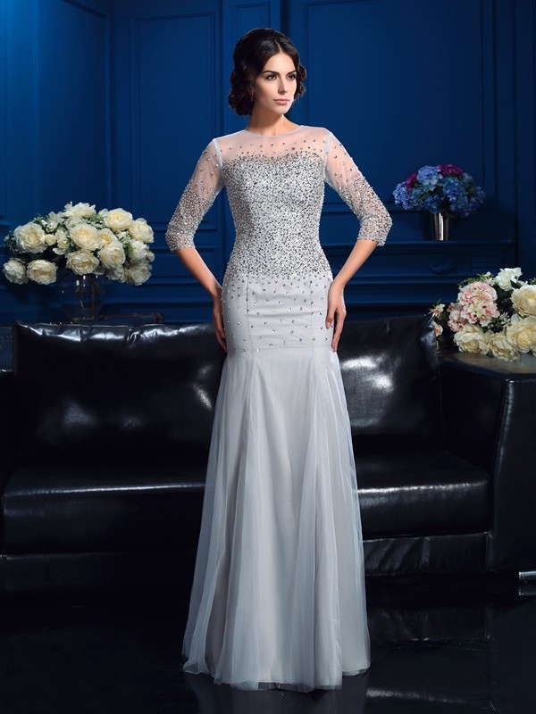 Chicregina Sheath/Column Scoop 3/4 Sleeves Floor-Length Net Mother Of The Bride Dress with Rhinestone