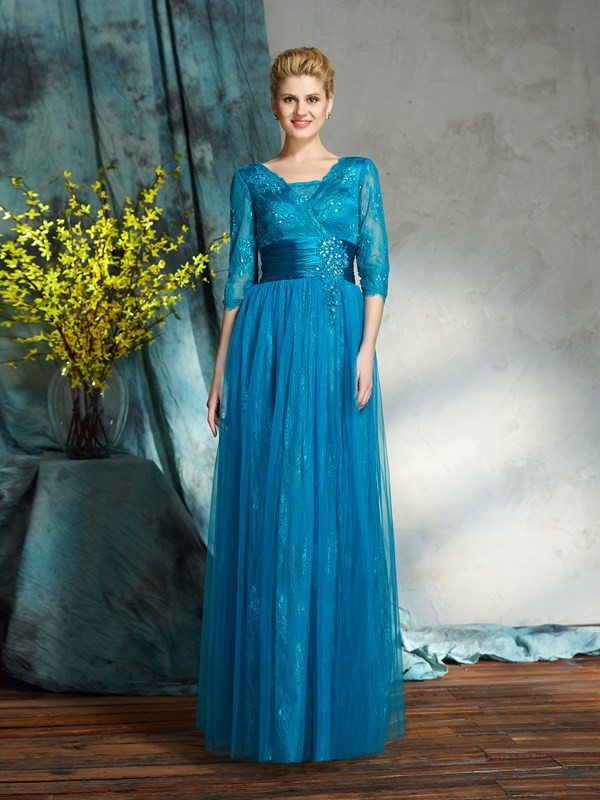 Chicregina A-Line/Princess 3/4 Sleeves V-neck Net Floor-Length Mother of the Bride Dress with Beading