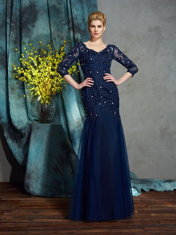 Chicregina Sheath/Column 3/4 Sleeves V-neck Floor-Length Net Mother of the Bride Dress with Beading
