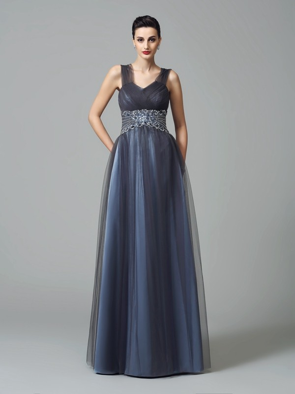 Chicregina A-Line/Princess Straps Floor-Length Net Mother of the Bride Dress with Sequin Beading