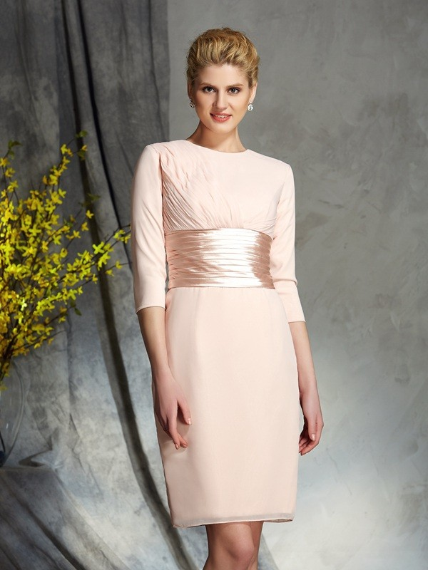 Chicregina Sheath/Column Scoop 3/4 Sleeves Chiffon Mini Mother of the Bride Dress with Beading