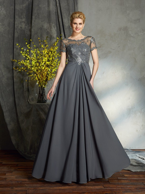 Chicregina A-Line/Princess Short Sleeves Scoop Chiffon Floor-Length Mother of the Bride Dress with Beading