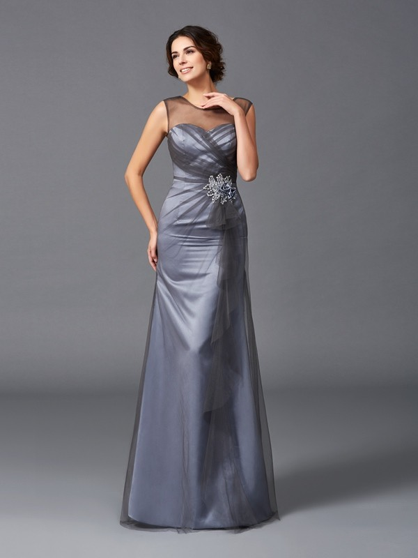 Chicregina Sheath/Column Scoop Floor-Length Net Mother of the Bride Dress with Beading