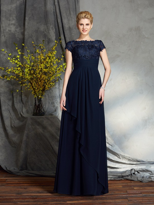 Chicregina A-Line/Princess Bateau Short Sleeves Floor-Length Chiffon Mother of the Bride Dress with Beading Applique