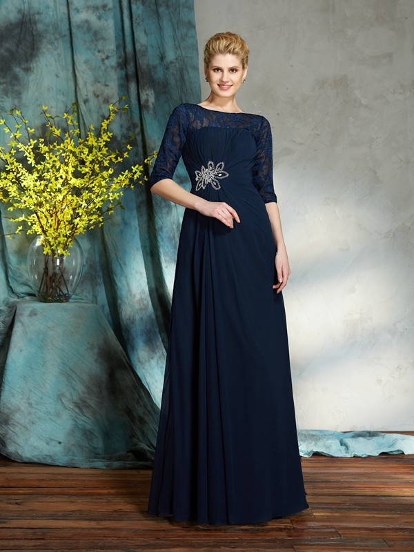 Chicregina A-Line/Princess Bateau 1/2 Sleeves Floor-Length Chiffon Mother of the Bride Dress with Beading