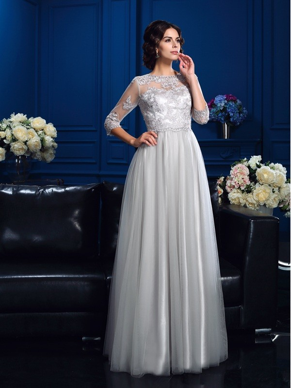 Chicregina A-Line/Princess Scoop 3/4 Sleeves Floor-Length Elastic Woven Satin Mother Of The Bride Dress with Ruched