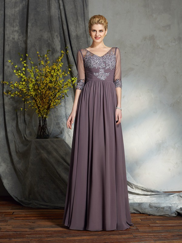Chicregina A-Line/Princess 1/2 Sleeves V-neck Floor-Length Chiffon Mother of the Bride Dress with Beading
