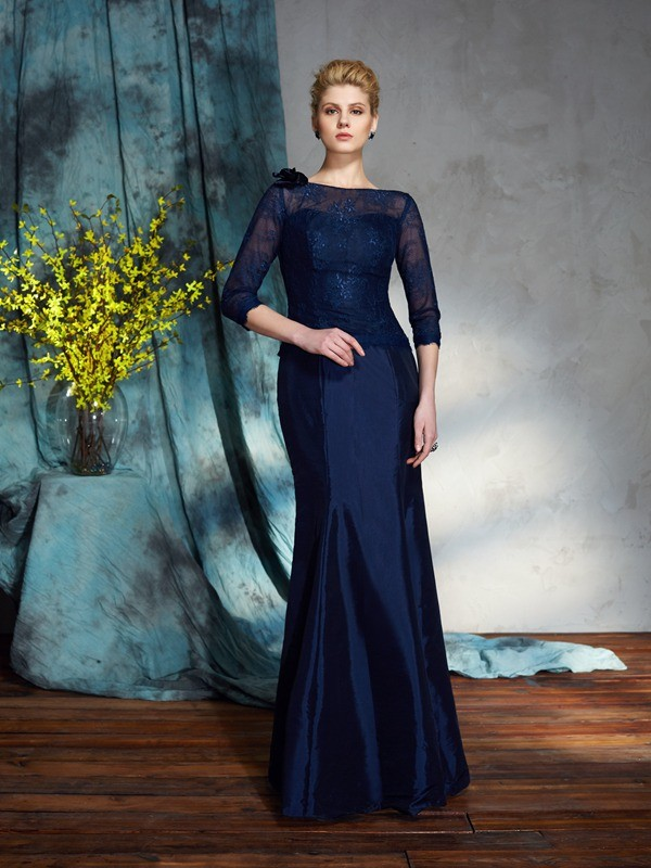 Chicregina Trumpet/Mermaid Bateau 1/2 Sleeves Taffeta Floor-Length Mother of the Bride Dress with Beading